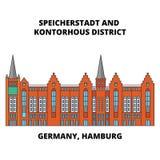 La Germania, Amburgo, linea concetto del distretto di Speicherstadt dell'icona La Germania, Amburgo, segno piano di vettore del d Immagini Stock Libere da Diritti