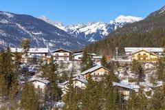La Germania, villaggio alpino nella neve Fotografie Stock Libere da Diritti