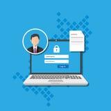 La gestión de acceso autoriza el sistema del formulario de inicio de sesión de la autentificación del software Foto de archivo