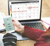 La gestión de la organización del planificador del calendario recuerda concepto Foto de archivo libre de regalías