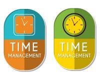 La gestión de tiempo con el reloj firma, dos etiquetas elípticas Imágenes de archivo libres de regalías