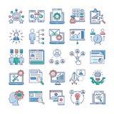 La gesti?n del proyecto, vectores planos del trabajo en equipo embala stock de ilustración
