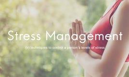 La gestione dello stress tiene il concetto calmo di calma di rilassamento fotografia stock libera da diritti