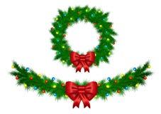 La ghirlanda di Natale con le luci variopinte vector il isola dell'illustrazione Immagini Stock