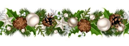 La ghirlanda senza cuciture di Natale con abete si ramifica, palle, foglie dell'agrifoglio, coni e vischio d'argento Illustrazion Fotografia Stock