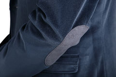 La giacca sportiva degli uomini dei blu navy del velluto del primo piano, isolata sopra bianco Fotografie Stock Libere da Diritti