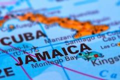 La Giamaica sulla mappa fotografie stock libere da diritti
