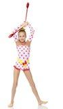 La ginnasta fa gli esercizi con una palla Immagine Stock Libera da Diritti