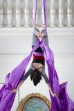 La ginnasta flessibile della donna appende sottosopra sul cerchio aereo Immagine Stock Libera da Diritti