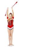La ginnasta si esercita con un macis Immagini Stock