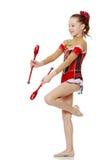 La ginnasta si esercita con un macis Fotografie Stock Libere da Diritti