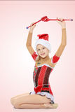 La ginnasta si esercita con un macis Fotografia Stock Libera da Diritti