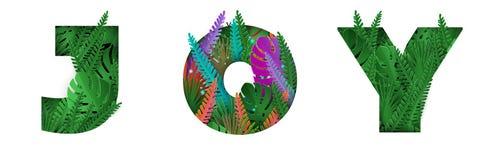 La gioia di parola con le lettere tropicali variopinte delle foglie royalty illustrazione gratis