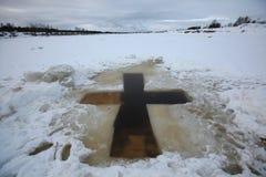 La Giordania per l'epifania che bagna vicino a Pskov, Russia Fotografia Stock Libera da Diritti