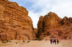 La Giordania, PETRA, la città antica ha scolpito nella roccia Fotografia Stock