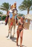 La giovane bella donna rotola i bambini su un cammello fotografie stock