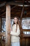 La giovane bella ragazza dello slavo con capelli lunghi ed il vestito etnico dallo slavo sta in un gazebo etnico di legno Immagini Stock Libere da Diritti