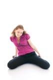 La giovane bella ragazza isolata su un bianco Fotografie Stock Libere da Diritti