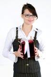 La giovane bella ragazza in un vestito di affari Immagine Stock Libera da Diritti