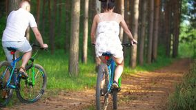 La giovane coppia che cicla attraverso l'abete rosso si ramifica nella foresta dell'estate archivi video
