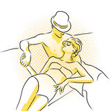 La giovane coppia ricca prende il sunbath sulla barca Materiale illustrativo colorato Fotografia Stock Libera da Diritti