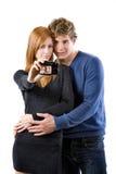 La giovane coppia sta catturando una maschera Fotografia Stock Libera da Diritti
