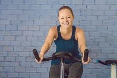 La giovane donna è impegnata su una bicicletta nella palestra fotografia stock libera da diritti