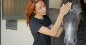 La giovane donna accarezza un cavallo video d archivio