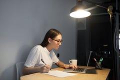 La giovane donna adulta ha letto il contratto sul computer portatile che fa le note Fotografia Stock