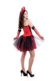 La giovane donna allegra sta indossando un diavolo sexy Fotografia Stock