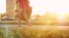 La giovane donna in bello vestito con i sacchetti della spesa va sulla via attraverso il sole durante il tramonto al rallentatore video d archivio