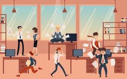 La giovane donna bionda che medita, tiene la calma e l'equilibrio nel caos dell'ufficio prima del termine royalty illustrazione gratis