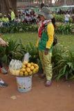 La giovane donna cambogiana vende la frutta Fotografie Stock Libere da Diritti