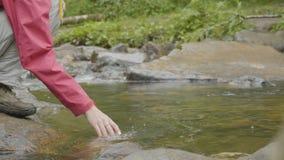 La giovane donna che tocca l'acqua del fiume nel giovane turista della foresta tocca la mano del fiume immagine stock libera da diritti