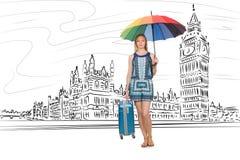 La giovane donna che viaggia a Londra nel Regno Unito Fotografie Stock Libere da Diritti