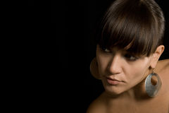 La giovane donna con i capelli di colore marrone del ? Fotografia Stock