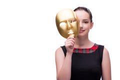 La giovane donna con la maschera isolata su bianco Immagini Stock Libere da Diritti