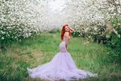 La giovane donna dai capelli rossi felice sta nel meleto sbocciante immagine stock