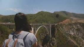 La giovane donna del viaggiatore di vista posteriore che fa un'escursione con lo zaino prende le foto dello smartphone del paesag video d archivio