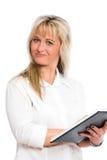 La giovane donna di affari bionda è Fotografia Stock