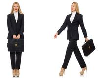La giovane donna di affari con la cartella isolata su bianco fotografie stock