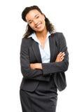 La giovane donna di affari della corsa mista con le armi ha piegato sorridere isolato Fotografie Stock