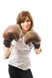 La giovane donna di affari difende dai competitori. fotografia stock libera da diritti