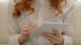 La giovane donna di affari riccia dell'avvocato sta facendo le note in taccuino che si siede nell'interno dell'aeroplano capo archivi video