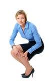 La giovane donna di affari soffre da dolore, isolato Fotografie Stock Libere da Diritti