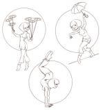 La giovane donna di pin-up esegue l'acrobazia cinese del circo Fotografia Stock Libera da Diritti