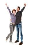 La giovane donna e l'uomo, si rallegrano. Fotografia Stock Libera da Diritti