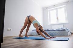 La giovane donna esegue l'allungamento di yoga Immagine Stock Libera da Diritti
