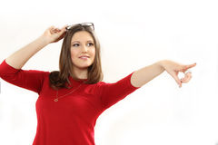 La giovane donna indica un dito Fotografia Stock Libera da Diritti