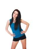 La giovane donna mette in mostra gli esercizi. isolato su bianco Fotografia Stock Libera da Diritti